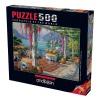500 Parça Puzzle : Mor Salkımlı Teras