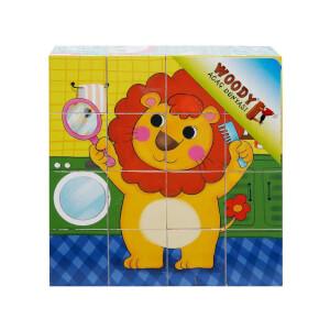 Woody Ahşap Küp Puzzle Sevimli Hayvanlar 12 Parça