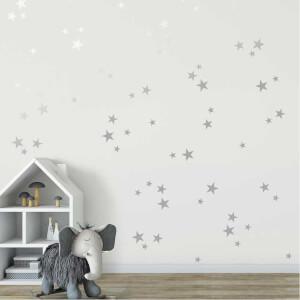 BugyBagy Gümüş Duvar Sticker Yıldız Yağmuru 100 Adet