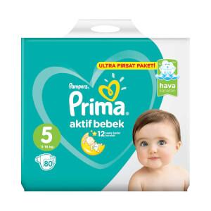 Prima 80'li Bebek Bezi Aktif Bebek Junior 5 Beden 11-16 Kg Ultra Fırsat Paketi