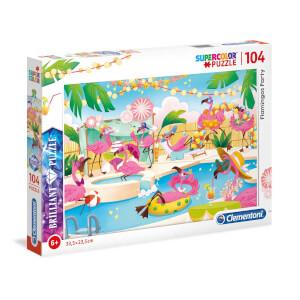 104 Parça Puzzle : Brilliant Flamingos Party