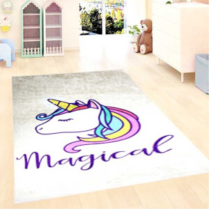 Firstmoon Unicorn Magic Çocuk Halısı Gri 100 x 160 cm.