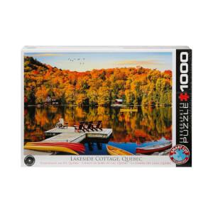 1000 Parça Puzzle : Lakeside Cottage, Quebec