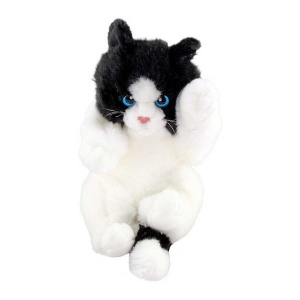 Oyuncu Yavru Kedicik Siyah-Beyaz Peluş 24 cm.