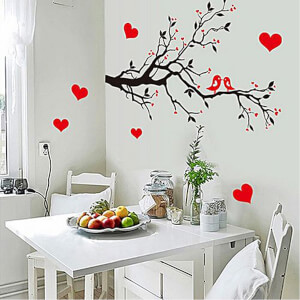 BugyBagy Kırmızı Duvar Sticker Kalp Yağmuru 194 Adet