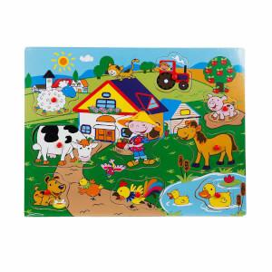 Woody Tutmalı Bultak Ahşap Puzzle Çiftlik 9 Parça