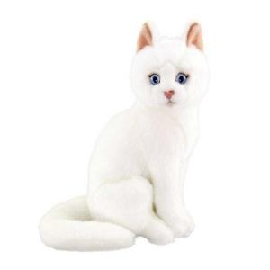 Oturan Beyaz Peluş Kedi 22 cm.