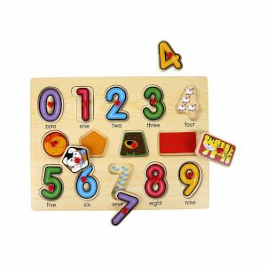 Woody Sayılar Ahşap Tutmalı Puzzle 14 Parça