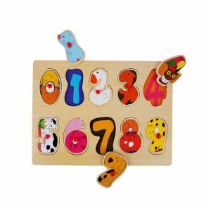 Woody Sayılar Ahşap Tutmalı Puzzle 10 Parça