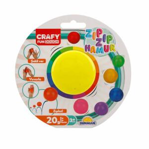 Crafy Zıp Zıp Oyun Hamuru 20 gr. (Neon Sarı)