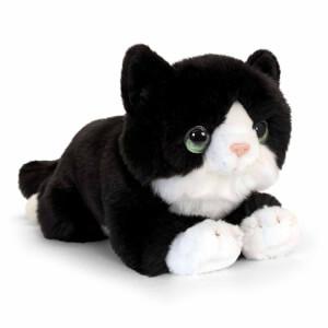 Yatan Siyah-Beyaz Kedi Peluş 25 cm.