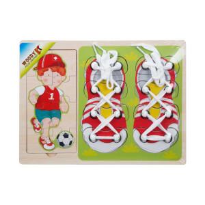 Woody Ahşap Puzzle Ayakkabı Bağlama 16 Parça (Beyaz)