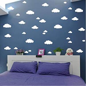 BugyBagy Beyaz Duvar Sticker Karışık Bulutlar 148 Adet