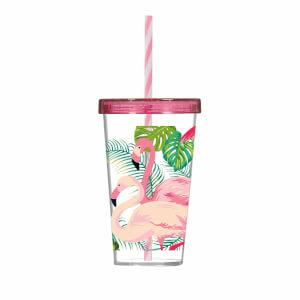 Flamingo Desenli Pipetli Bardak 660 ml.