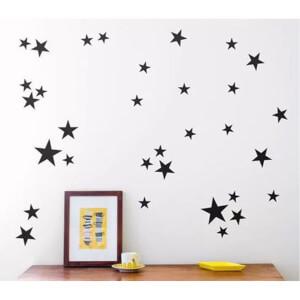 BugyBagy Siyah Duvar Sticker Yıldız Yağmuru 200 Adet