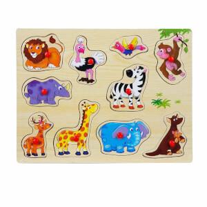 Woody Ahşap Bultak Tutmalı Puzzle Hayvanlar
