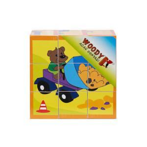 Woody Ahşap Küp Puzzle Sevimli Hayvanlar 9 Parça