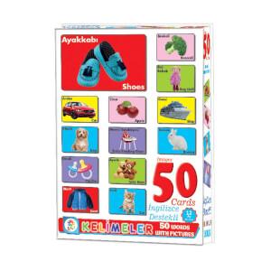 Resimlerle İngilizce Destekli Eğitici Kelime Kartları 50 Parça