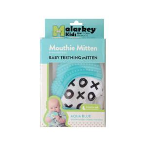 Mouthie Mitten Diş Kaşıyıcı Xo Desenli Mavi Eldiven