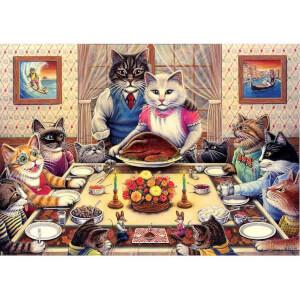 260 Parça Puzzle : Kedi Ailesi Ziyafette