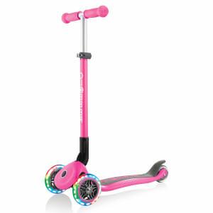 Globber Primo 3 Tekerlekli Işıklı Katlanabilir Pembe Scooter