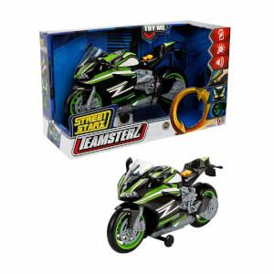 Teamsterz Sesli ve Işıklı Yeşil Motosiklet 27 cm.
