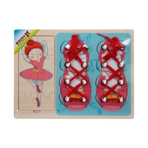 Woody Ahşap Puzzle Ayakkabı Bağlama 16 Parça(Kırmızı)