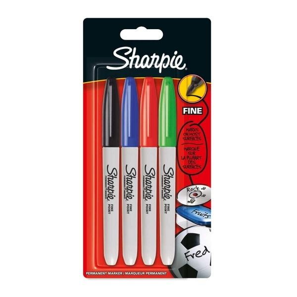 Sharpie Fine Permanent Markör Kalem 3+1 Standart Renkler