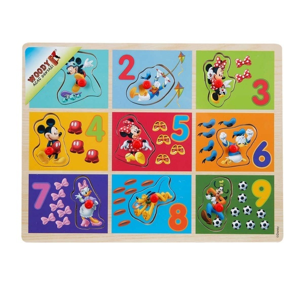Mickey Mouse Ahşap Bultak Rakamlar