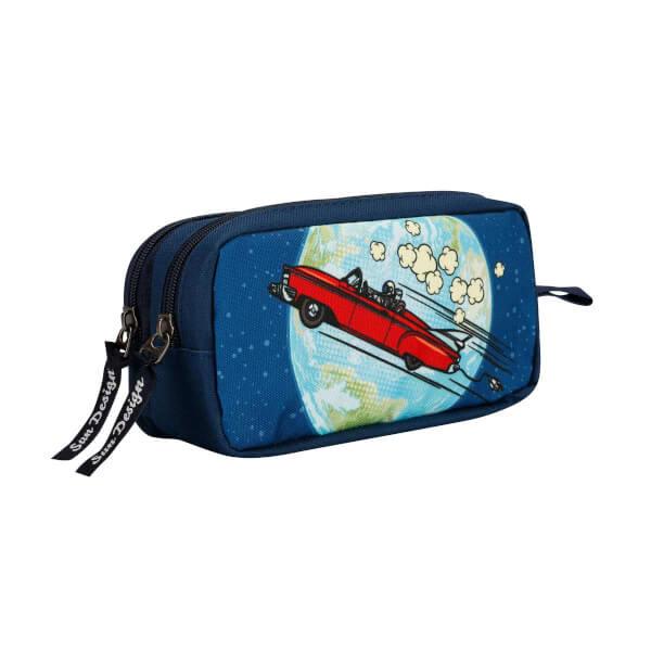 Kırmızı Araba Ve Dünya Desenli Kalem Kutusu 9046