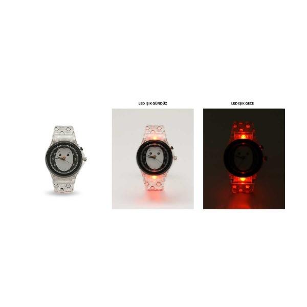 Penguen LED Işıklı Analog Kol Saati