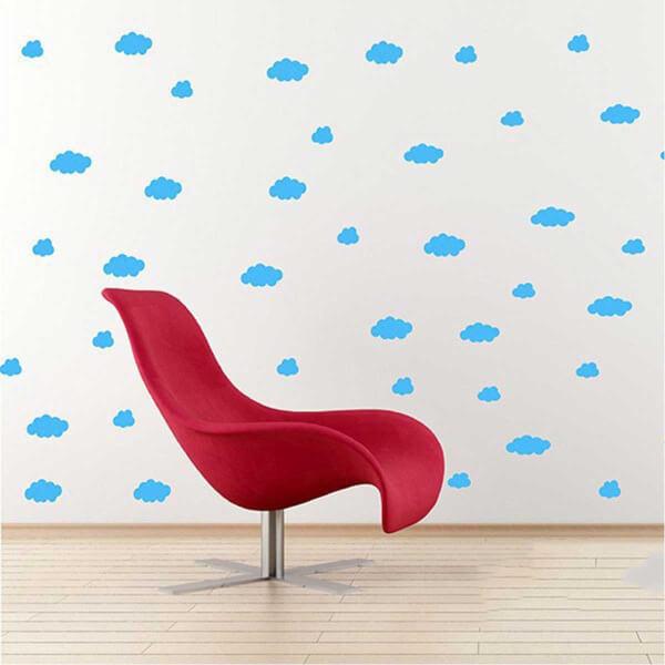 BugyBagy Mavi Duvar Sticker Karışık Bulutlar 74 Adet