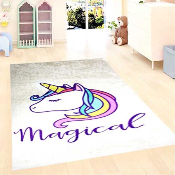 Firstmoon Unicorn Magic Çocuk Halısı Gri 100 x 160 cm.