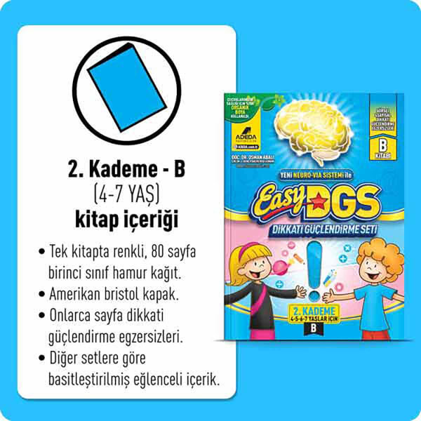 Easy Dikkati Güçlendirme Seti 2. Kademe 4-7 Yaş (B)