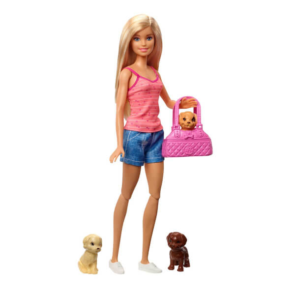 Barbie Bebek ve Aksesuarları 3 Yavru Köpekli Oyun Seti GDJ37