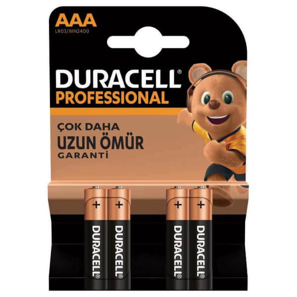 Duracell İnce Kalem Pil Professional AAA 4'lü