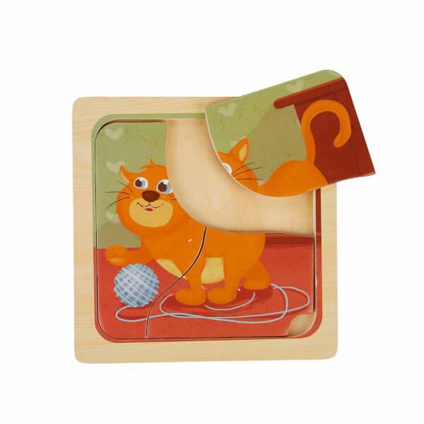 Woody Sevimli Hayvanlar Ahşap Puzzle 3 Parça