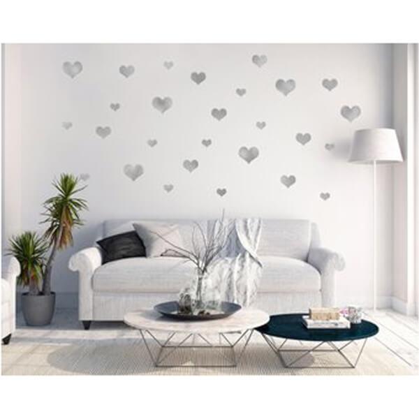 BugyBagy Gümüş Duvar Sticker Kalp Yağmuru 194 Adet