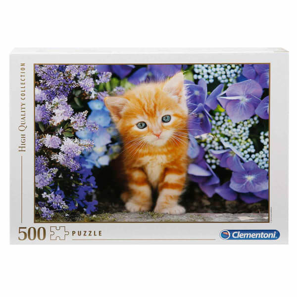 500 Parça Puzzle: Çiçekler İçindeki Kedi