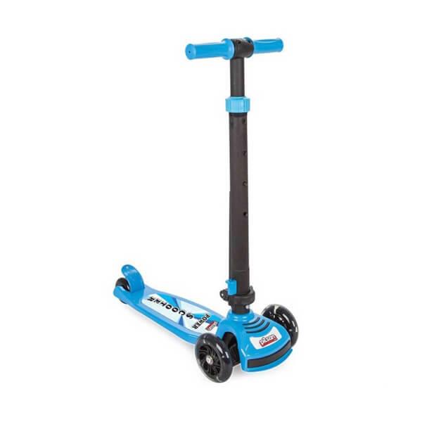 Power Led Işıklı 3 Tekerlekli Katlanabilir Mavi Scooter