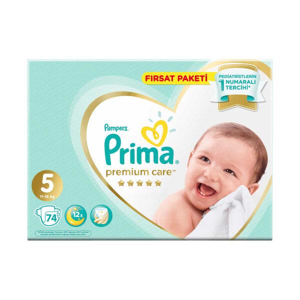 Prima Premium Care 74'lü Bebek Bezi Junior 5 Beden 11-16 Kg Fırsat Paketi
