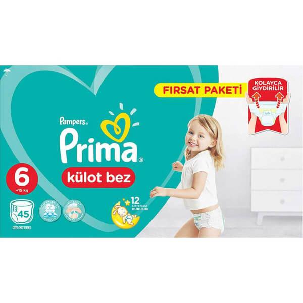 Prima 45'li Külot Bebek Bezi Ekstra Large 6 Beden 15+ Kg Fırsat Paketi
