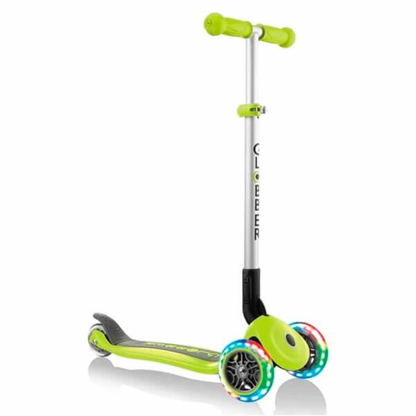 Globber Primo 3 Tekerlekli Işıklı Katlanabilir Yeşil Scooter