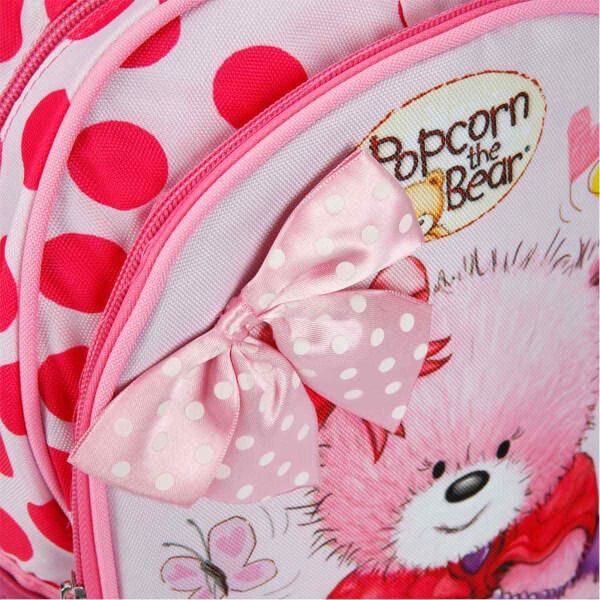 Popcorn The Bear Kurdela'lı Okul Çantası Pembe 2080