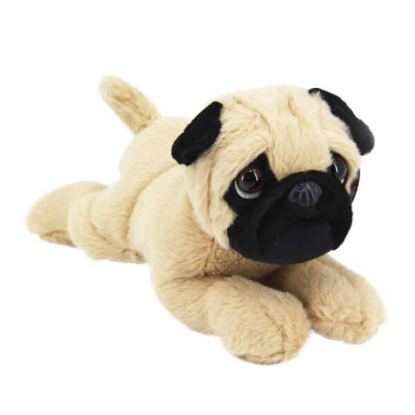 Sesli Yatan Pug Köpek Peluş 28 cm.