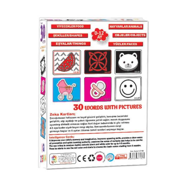 Bebeğimin IQ Zekası Eğitici Resimli Kelime Kartları 30 Parça