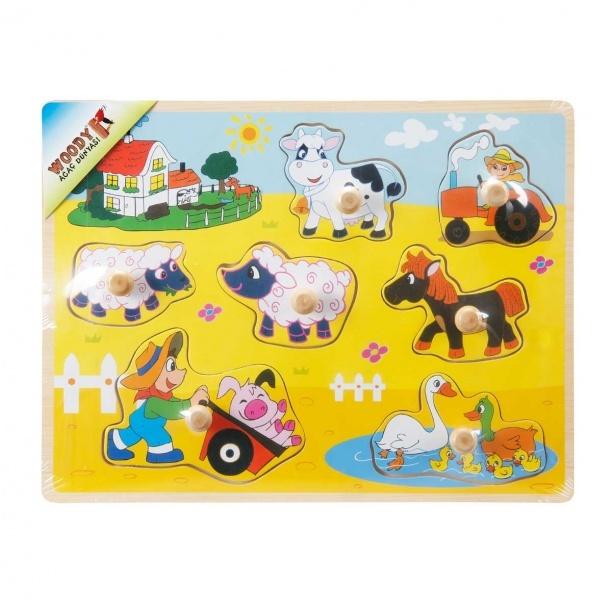 Woody Çiftlik Hayvanlar Ahşap Tutmalı Bultak 7 Parça