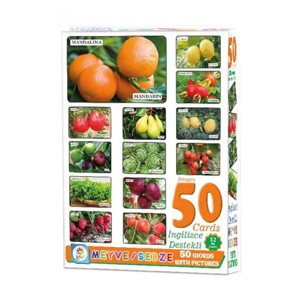Resimlerle Meyve ve Sebzeler İngilizce Destekli Eğitici Kartları 50 Parça