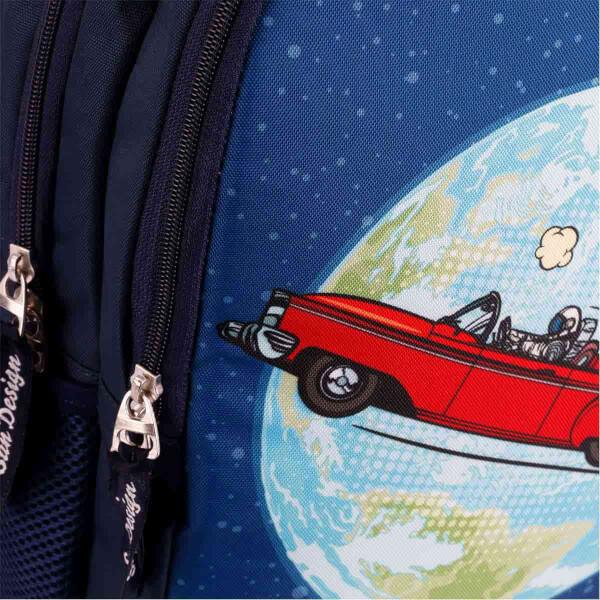 Kırmızı Araba Ve Dünya Desenli Okul Çantası 9015