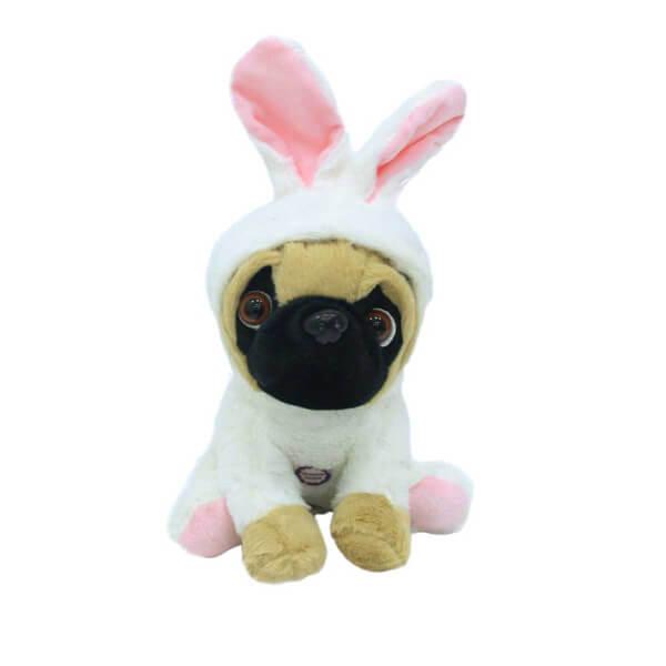 Kıyafetli Havlayan Peluş Pug Köpek